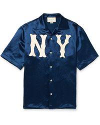 Gucci - Camp-collar Appliquéd Satin Shirt - Lyst