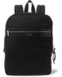 Saint Laurent - Leather-trimmed Canvas Backpack - Lyst