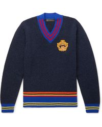 Versace - Embroidered Striped Wool Jumper - Lyst