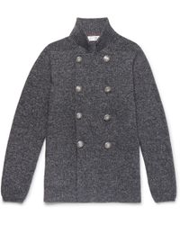 Brunello Cucinelli | Slim-fit Double-breasted Mélange Cotton Cardigan | Lyst