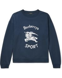 Burberry | Flocked Fleece-back Cotton-blend Jersey Sweatshirt | Lyst