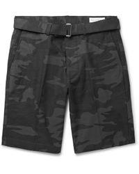 Officine Generale - Julian Slim-fit Camouflage-print Stretch-cotton Shorts - Lyst