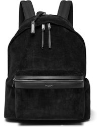 Saint Laurent - City Leather-trimmed Corduroy And Canvas Backpack - Lyst
