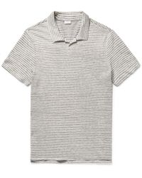 Onia - Shaun Slim-fit Striped Slub Linen And Cotton-blend Polo Shirt - Lyst