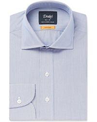 Drake's - Blue Easyday Cutaway-collar Striped Cotton Shirt - Lyst