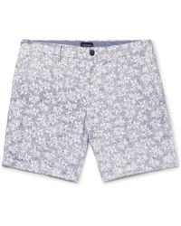 Club Monaco - Baxter Slim-fit Printed Linen And Cotton-blend Twill Shorts - Lyst