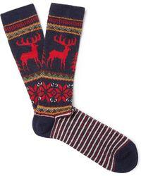Anonymous Ism - Fair Isle Intarsia-knit Socks - Lyst