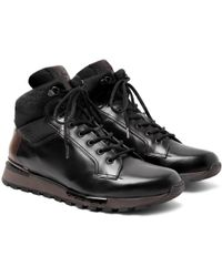 Berluti - Fast Track Shearling-lined Leather And Jacquard-shell Hiking Boots - Lyst