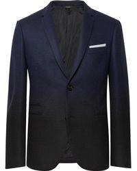 Neil Barrett - Storm-blue Slim-fit Dégradé Virgin Wool-blend Suit Jacket - Lyst