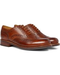 Grenson - Stanley Cross-grain Leather Wingtip Brogues - Lyst