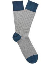 John Smedley - Gamma Two-tone Sea Island Cotton-blend Socks - Lyst