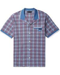 Prada - Camp-collar Checked Cotton Shirt - Lyst