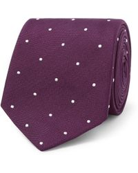 Paul Smith - 7cm Polka-dot Embroidered Silk Tie - Lyst