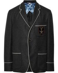 Gucci - Dark-grey Slim-fit Embroidered Cashmere Blazer - Lyst