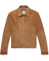 Maison Margiela - Contrast-trimmed Suede Blouson Jacket - Lyst