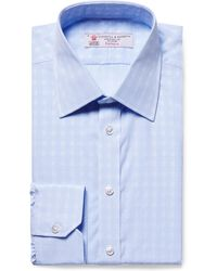 Turnbull & Asser - Light-blue Slim-fit Checked Cotton-poplin Shirt - Lyst