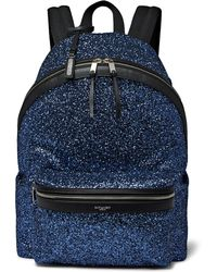 Saint Laurent - City Leather-trimmed Sequinned Canvas Backpack - Lyst