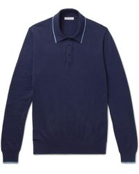 Boglioli - Contrast-tipped Knitted Cotton Polo Shirt - Lyst