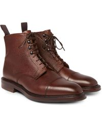 251bb9319aba Lyst - Moncler Peak Pebble-grain Leather Hiking Boots in Brown for Men