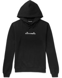Dolce & Gabbana - Logo-embroidered Loopback Cotton-jersey Hoodie - Lyst