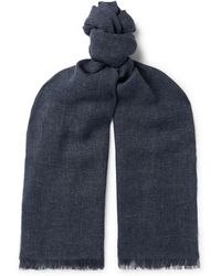 Ermenegildo Zegna - Fringed Linen, Cashmere And Wool-blend Scarf - Lyst