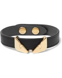 Fendi - Leather And Gold-tone Bracelet - Lyst