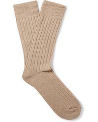 Anderson & Sheppard - Ribbed Wool-blend Socks - Lyst