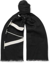 Valentino - Garavani Logo-print Wool Scarf - Lyst