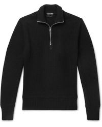 Tom Ford - Ribbed Wool And Cashmere-blend Half-zip Jumper - Lyst