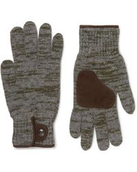 Oliver Spencer - Suede-trimmed Mélange Wool-blend Gloves - Lyst