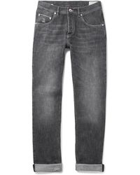 Brunello Cucinelli - Washed Selvedge Denim Jeans - Lyst