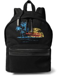 Saint Laurent - City Leather-trimmed Printed Canvas Backpack - Lyst