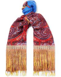 Etro - Fringed Paisley-print Modal And Linen-blend Scarf - Lyst
