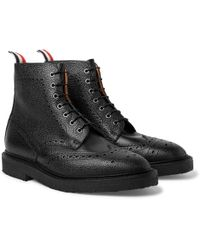 Black Cropped Blucher Lace-Up Boots Thom Browne bygat