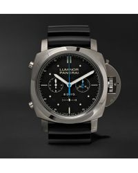 Officine Panerai - Luminor 1950 Rattrapante 8 Days Chronograph 47mm Titanium And Rubber Watch - Lyst