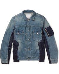 Sacai - Shell-panelled Denim Jacket - Lyst