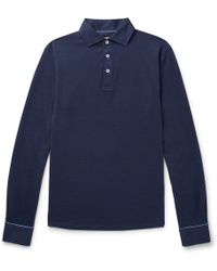 Hackett - Slim-fit Cotton And Silk-blend Polo Shirt - Lyst