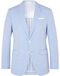 BOSS - Light-blue Hartlay Slim-fit Slub Linen And Cotton-blend Suit Jacket - Lyst