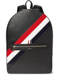 Thom Browne - Striped Pebble-grain Leather Backpack - Lyst