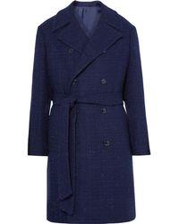 Mp Massimo Piombo - Double-breasted Slub Wool-blend Coat - Lyst