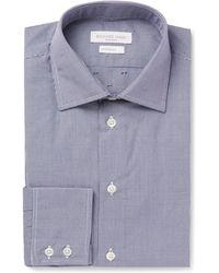 Richard James - Blue Cutaway Collar Checked Cotton Shirt - Lyst