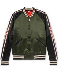 Gucci - Reversible Webbing-trimmed Satin-twill Bomber Jacket - Lyst