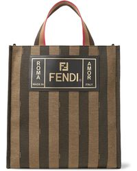 Fendi - Leather-trimmed Striped Canvas Tote Bag - Lyst