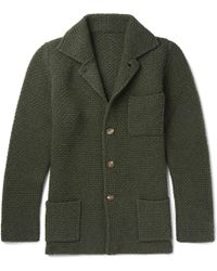 Anderson & Sheppard - Slim-fit Waffle-knit Wool And Cashmere-blend Cardigan - Lyst