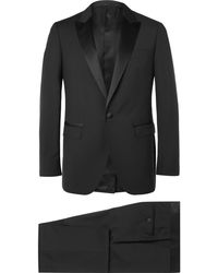 Lanvin - Black Slim-fit Satin-trimmed Wool And Mohair-blend Tuxedo - Lyst