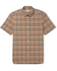 Burberry - Checked Cotton-poplin Shirt - Lyst