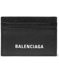 Balenciaga - Logo-print Textured-leather Cardholder - Lyst
