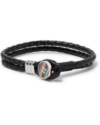 Paul Smith - Woven Leather, Silver-tone And Enamel Bracelet - Lyst