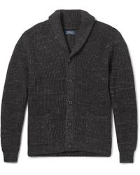 Polo Ralph Lauren - Shawl-collar Mélange Ribbed Cotton Cardigan - Lyst