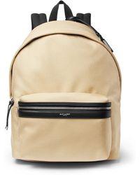 Saint Laurent - City Leather-trimmed Canvas Backpack - Lyst
